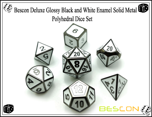 Bescon Deluxe Glossy Black and White Enamel Solid Metal Polyhedral Role Playing RPG Game Dice Set (7 Die in Pack)-7