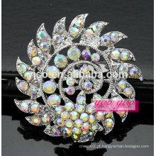 Floral espiral Ab ouro e prata broche de cristal de pedra