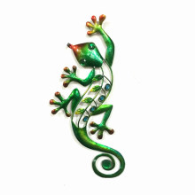 Deluxe Jewelled Green Gecko Garden Metal Wall Art Decoration