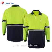 Calidad garantizada Hi Vis Reflective Polo Camisas de dos tonos de manga larga Safety Men Camisa de alta visibilidad con bolsillo de la pluma