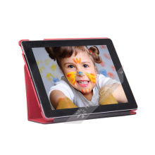 Functional Red Smart Pu Leather Cases For Ipad, Magnetic Flap Closure