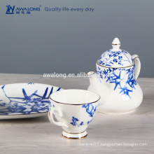 blue bamboo design chinese style porcelain coffee set bone china tea set