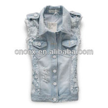 14LJ1077 Broken hole lace women sleeveless denim jackets