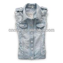 14LJ1077 mulheres de rendas buraco quebrado sem mangas denim jaquetas