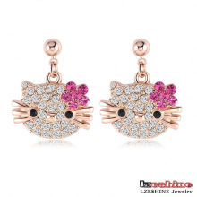 Cute CZ Crystal Cat Earrings pour les filles 3colors (ER0109)