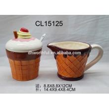 Kreatives, eisgeformtes keramisches Zucker- und Sahne-Set für Großhandel