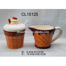 Creative ice cream shaped ceramic sugar and creamer set for wholesale