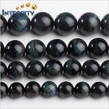 DIY Gemstone Loose Beads Size 6 8 10 12 14 16mm Stone Strand Natural Blue Tiger Eye