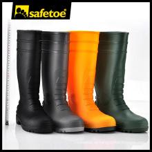 Regenstiefel für Frau, schwarze Gummistiefel, schwarze und gelbe High Heels W-6038T