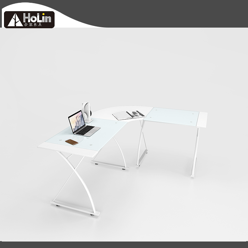 IKEA style white glass L shaped table