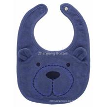 Babero resistente de agua del bebé del delantal del babero del aplique del oso de la historieta impresa logotipo modificado para requisitos particulares promocional