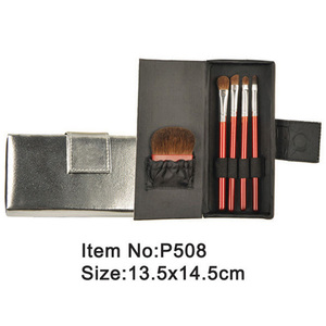 5pcs travel makeup brush kit with satin folder
