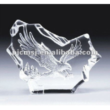 2015 Beautiful newest Design 3D laser crystal iceberg with eagle for office decorations