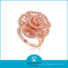 Großhandel Blumen Silber Ring Schmuck (R-0001)