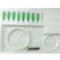 mini PLC splitter 1x32/1x16/1x8/1x4/1x2 steel tube 0.9mm fiber optic splitter with G657A FTTH cable