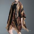 Womens Cardigan Wraps Winter gestrickte Blätter Printing Pullover Poncho Schal (SP621)