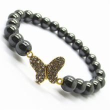 Hematite 8MM Round Beads Stretch Gemstone Bracelet with Diamante Butterfly alloy Piece