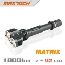 Maxtoch MATRIX Doppelkopf Weitblick Cree XML-U2 1800 Lumen 2 * 18650 Akku Hign-End Cree LED High Power Taschenlampe