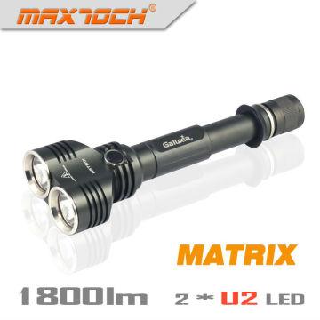 Maxtoch matriz doble cabeza amplia vista XML U2 1800 lúmenes 2 * 18650 batería del Hign-final Cree LED de alta potencia linterna Cree