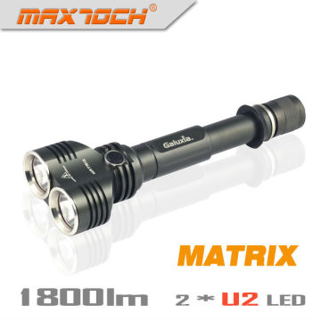 Maxtoch MATRIX Dual Head Broad View Cree XML U2 1800 Lumens 2*18650 Battery Hign-end LED Flashlight Torch