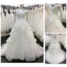 2016 Novo Estilo Europeu De Moda Pescoço V Off Shoulder Layers Saia Vestido De Noiva Vestido De Noiva A018