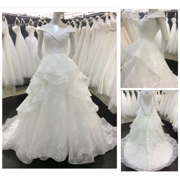 2016 New Style European Fashionable V Neck Off Shoulder Layers Skirt Bridal Gown Lace Wedding Dress A018