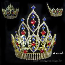 Coronas grandes del desfile de la venta al por mayor de la corona de la tiara del Rhinestone del diseño y tiaras