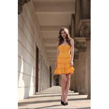 Women's Mustard Sleeveless Fit And Flare Dress