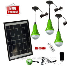 Portátil led kit de iluminación de energía solar luz cargada por el panel solar 12W
