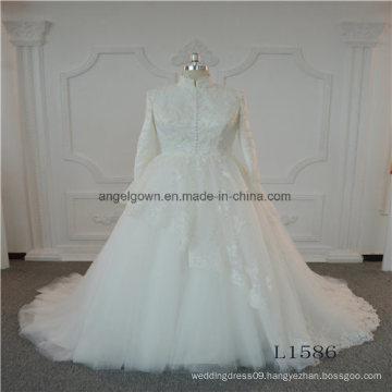 Long Sleeve High Neck Lace Wedding Dress Bridal 2017