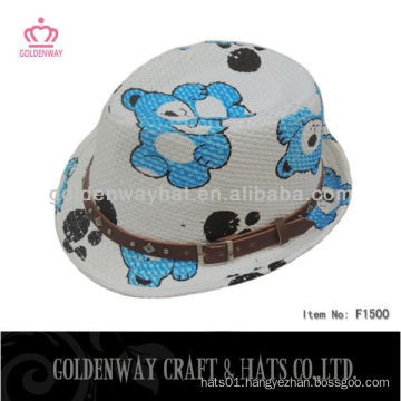 lovely children straw paper bear hat