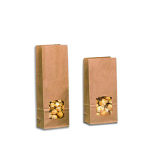 Window Kraft Paper Block Bottom Bags
