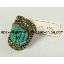Metal Lace Hollow Ring with Blue Seedbeads 2017 New Style