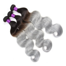 Dunkle Wurzel schwarz bis grau zwei Ton Ombre Körperwelle brasilianische Jungfrau menschliche Haarverlängerung spinnt brasilianische Haarbündel