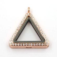 33mm Rose Gold Dreieck Schmuck lebenden magnetischen Glas Locket Halskette
