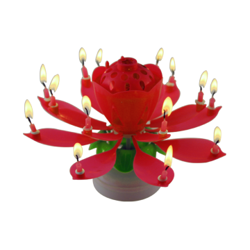 Double layers Lotus 14 mini birthday music candle