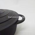 Cocotte / cocotte en terre de fonte de revêtement noir rond de 23cm