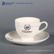 Logotipo personalizado branco puro derramamento prova copo de café, osso China personalizado copo de café