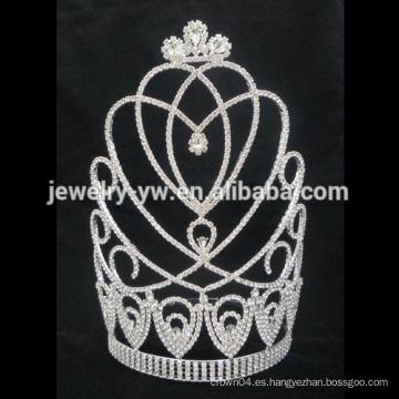 Coronas personalizadas tiara de boda grande, coronas de concurso de venta al por mayor