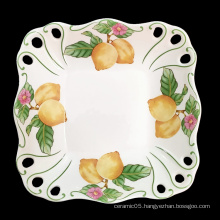 Hight quality square shape  ceramic fruit bowl porcelain fruit plate from chaozhou