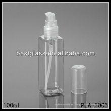 Botella de plástico de 100 ml, bottlw de plástico cuadrado de 100 ml, botella de plástico transparente de 100 ml con bomba y tapa de PP