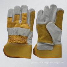 Желтая кожаная кожаная двойная кожаная перчатка (3060.01)