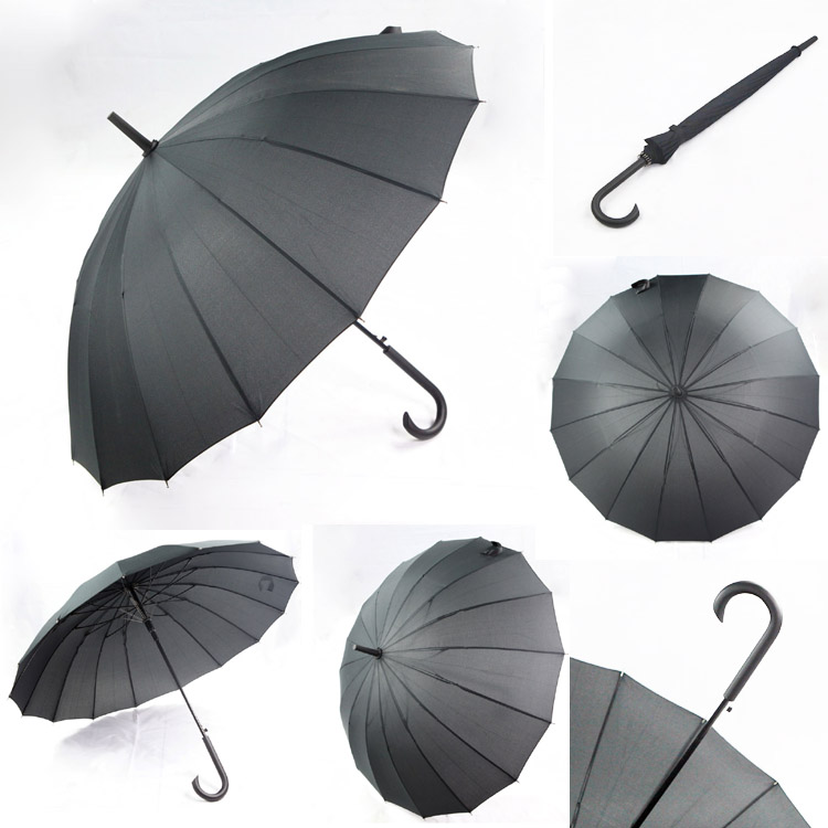 Black 16 ribs large size men umbrella long shaft