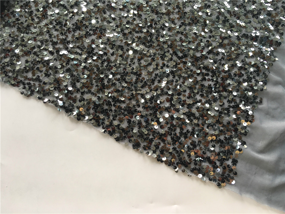 Gun Metal Sequin Embroidery Fabric