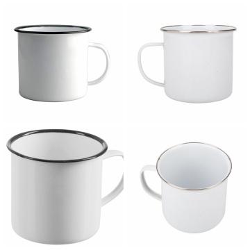 Tazas blancas tradicionales del té / del café del esmalte