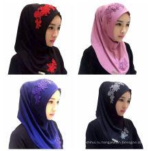 2017 летних тенденций кружева цветок вышивка женщины Дубай мусульманский шарф хиджаб кепка макси хиджаб один кусок хиджаб