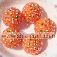 Big Wholesale 20*22MM Resin Rhinestone Ball Chunky Beads Orange AB