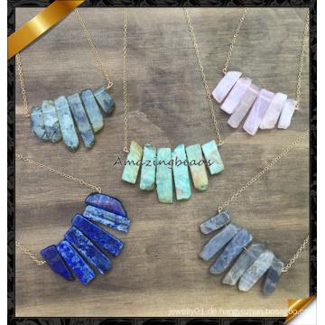 Neueste! Weinlese Quarz Rosenkranz Halskette, Stein Anhänger Halskette (FN047)