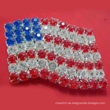 Neue Art und Weiseentwurf die Sterne und die Streifen Amerikanische Flagge Acryl Bowknot Broschen / Stifte für Kleidungsstücke als