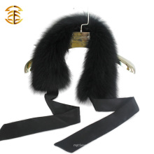 Black Bowknot Real Fox Fur Desmontagem lenço Fox Fur Collar Trim